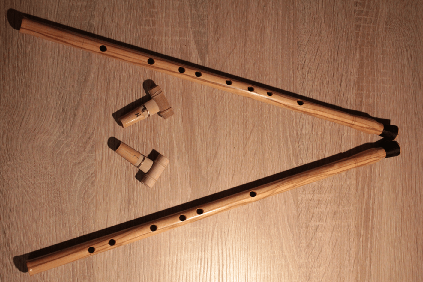Two aulos pipes