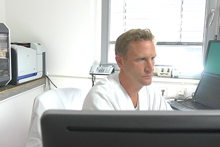 Prof Dr Metzger in his office