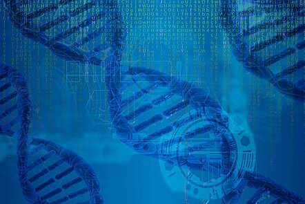 Three transversal blue DNA helices on a blue background with genetics informatics analysis data as watermark image background.