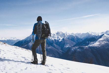 Man walking on a snowy mountain