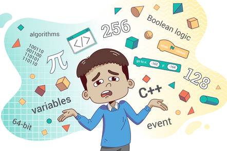 A confused person surrounded by computing symbols and terms