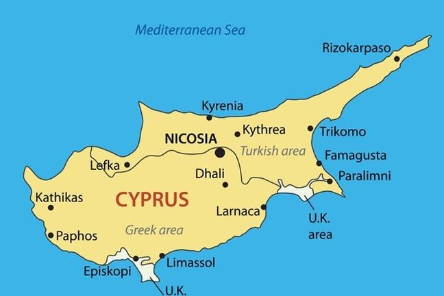 Cyprus showing the division between the Turkish and Greek areas