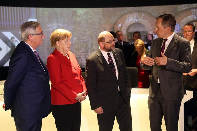 Jean-Claude Juncker, Angela Merkel and Martin Schulz attend the opening of 'Erlebnis Europa' in Berlin