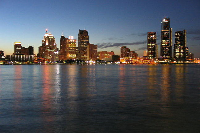 Skyline of city of Detroit