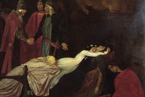 Juliet mourning over her dead lover, Romeo