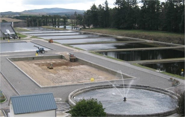 Slow sand filters at large-scale centralised treatment plant in Ireland.