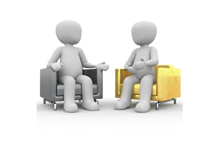 two white figures have a conversation on arm chairs
