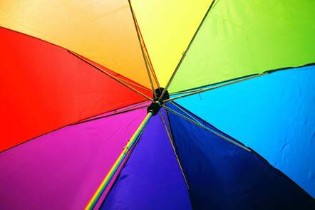 open umbrella in multiple colours