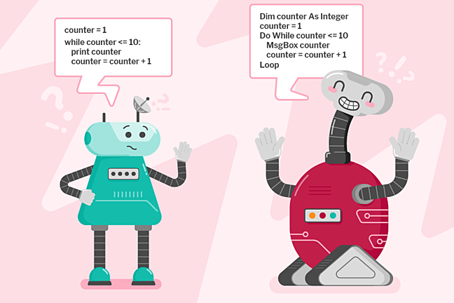 An illustration of two robot characters speaking to one another using two different programming languages
