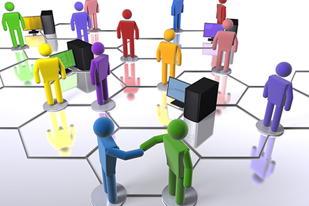 A graphic of a group of people meeting