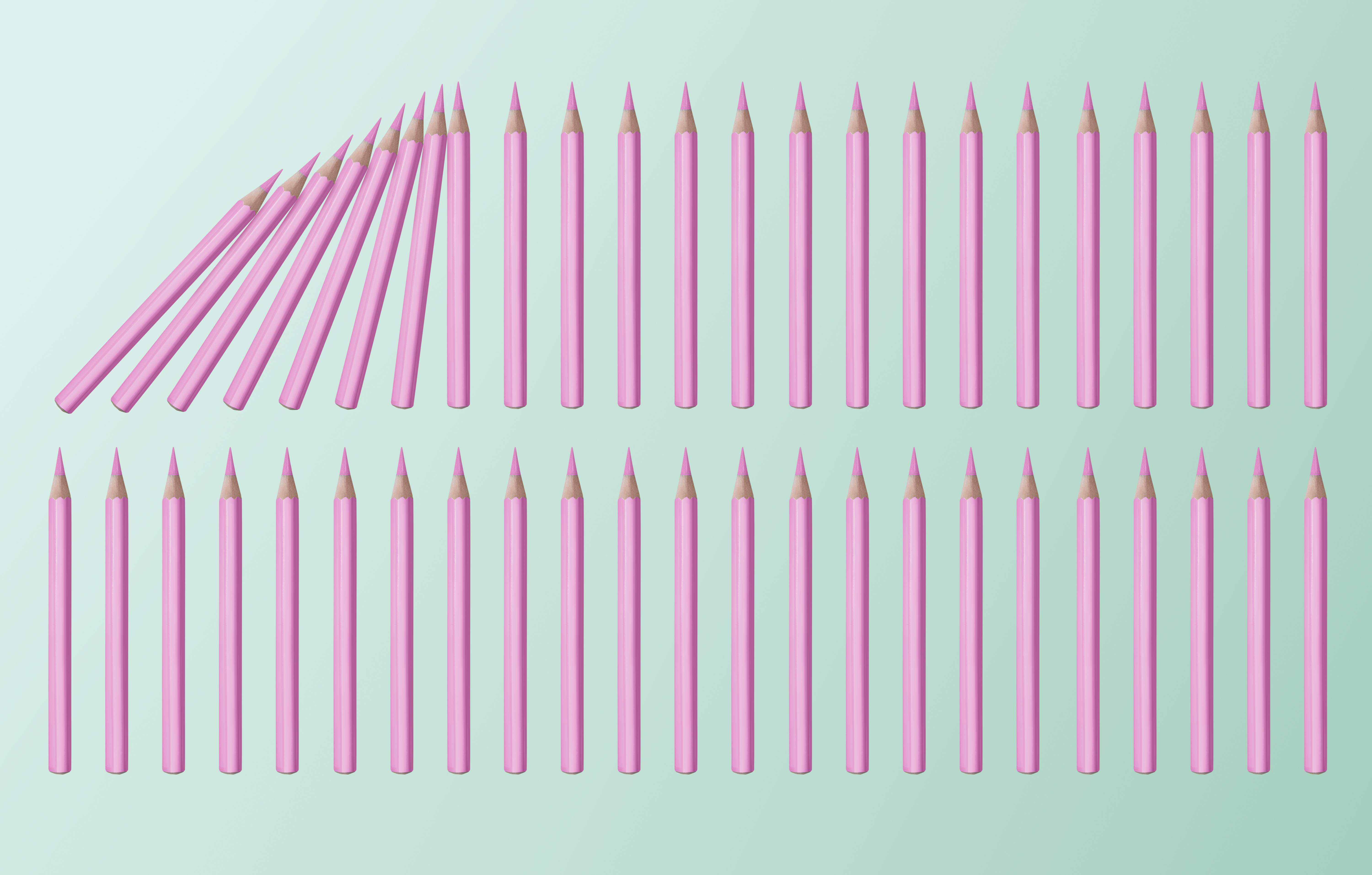 Pink pencils lined up. Some started falling causing other pencils to fall. Image showing the domino effect.
