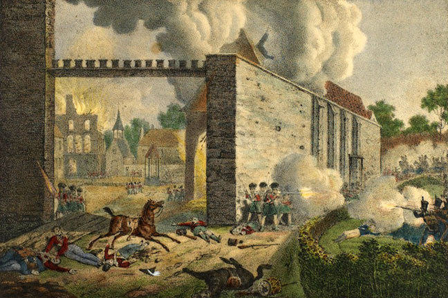 Print showing British soldiers defending the Hougoumont