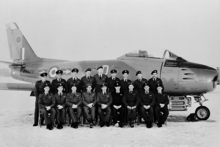 Pilots and crew in front of their Canadian-built Sabre.