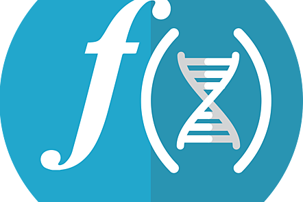 Vector image representing in white on a blue background the function of a gene in the form of an f and a DNA helix between brackets.