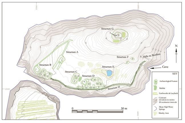 University of Glasgow archaeology topographic survey of Dùn Èistean, illustrating the multiple uses for the land.