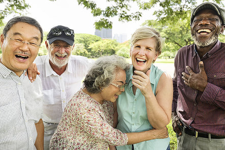 Group of older people celebrating