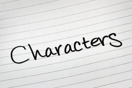 A page with the word 'Characters' written down.