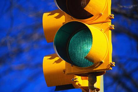 Green traffic light close-up