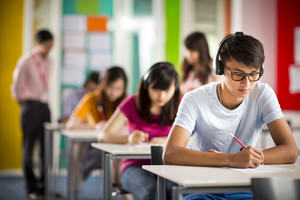 Students taking a test in the classroom