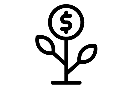 Icon of flower with currency sign