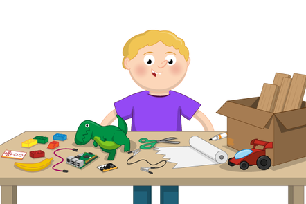 young person in front of a table with all the equipment they need for a physical computing project