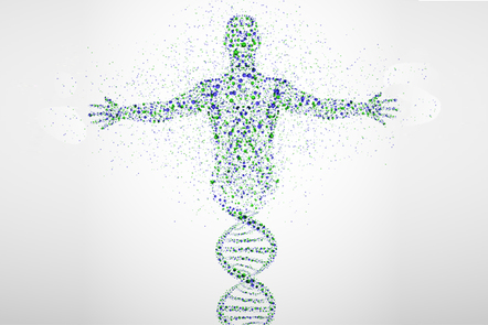 Abstract model of a man made from DNA molecules