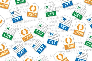 Icons representing CSV, TXT and JSON files, overlaid over some python code