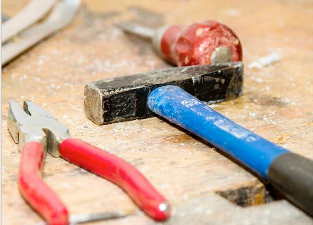 Workshop tools on a wooden worktop.