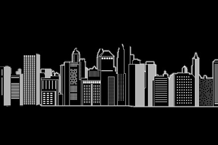 Graphic design of city skyline
