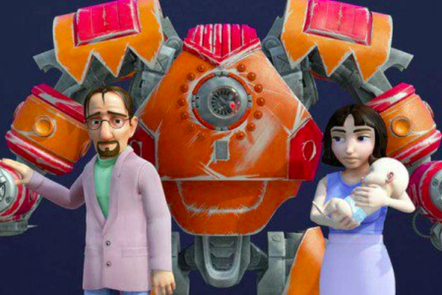 husband, wife, baby and big robot.