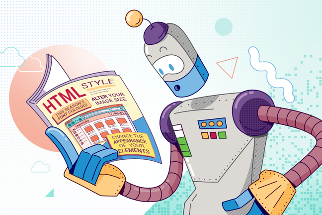 Robot looking at a magazine called 'HTML Style', with subheadings 'This seasons font colours', 'Alter your image size' and 'Change the appearance of your elements'