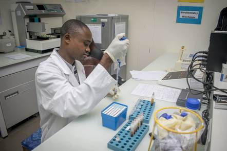 A laboratory technician at work in Gabon