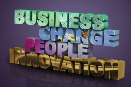 Business, Change, People, Innovation as 3D words