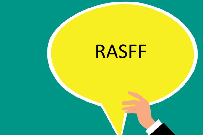 "Vector image of hand holding up a yellow speech bubble with ""RASFF"" written in it."