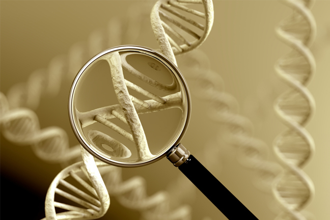 DNA strand under a magnifying glass
