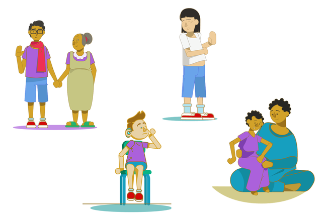 An illustration of our four case study characters. A teenage boy standing with his grandmother. A boy clutching his cheek. A girl with her hand up in refusal. A girl sat on her daughter's knee