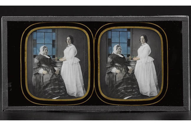 Stereo image depicting two unidentified women, possibly mother and daughter, one seated holding a stereo viewer, one standing, holding a plant on a plinth.