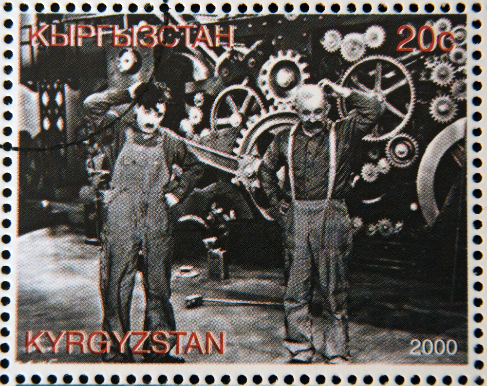 A stamp from Kyrgyzstan shows scene from the movie