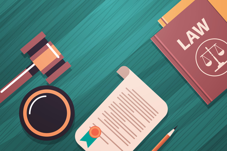 Illustration of legal iconography: law book, scales and gavel