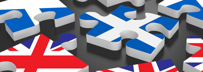 Jigsaw pieces with Scottish and UK flags