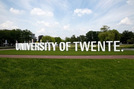 University of Twente logo on the campus