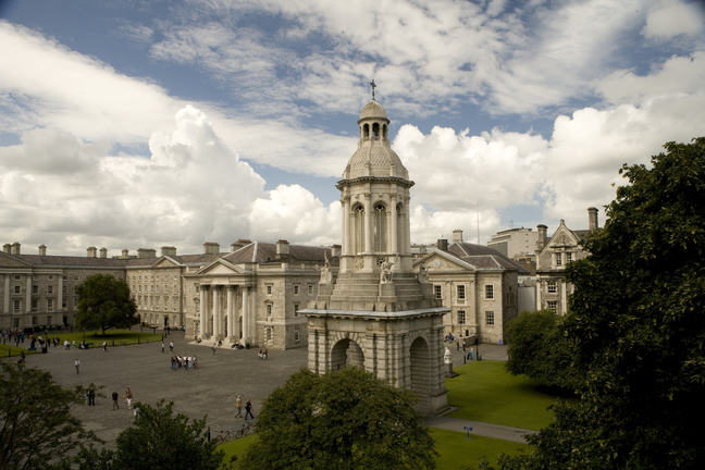 An image of Trinity College Dublin under a blue sky.