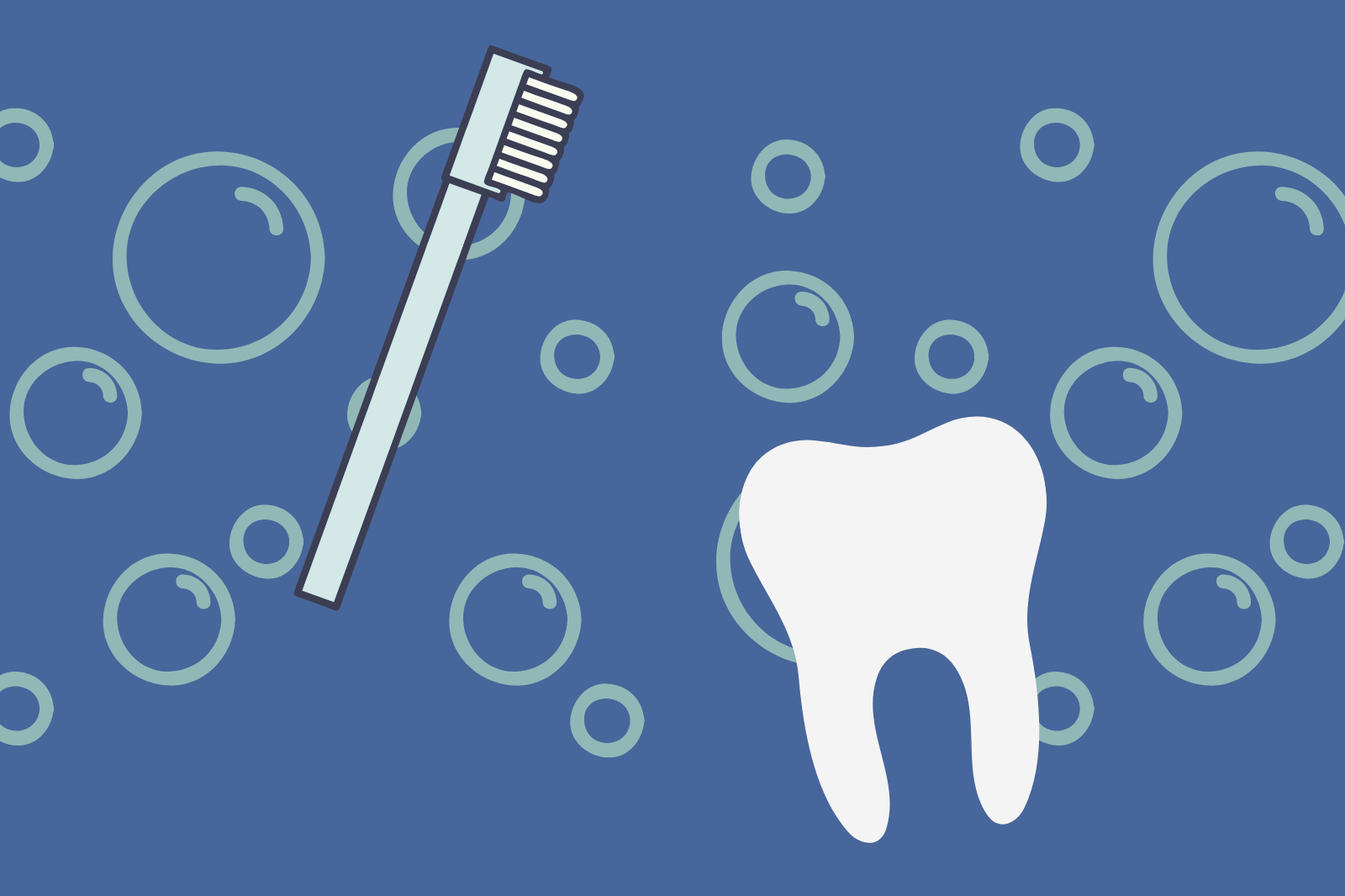 cartoon image of a tooth and toothbrush