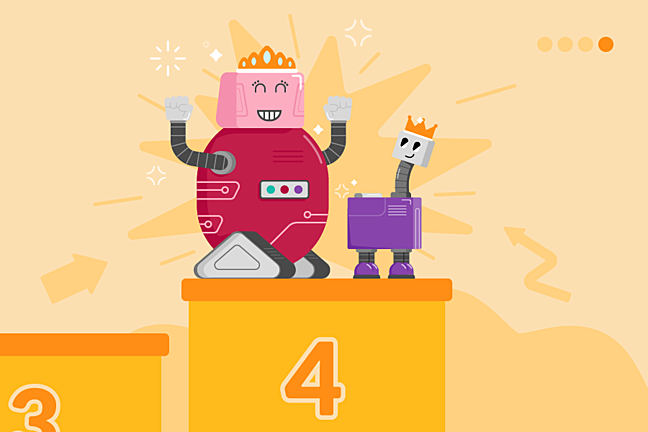 A cartoon illustration of two robot characters celebrating their success