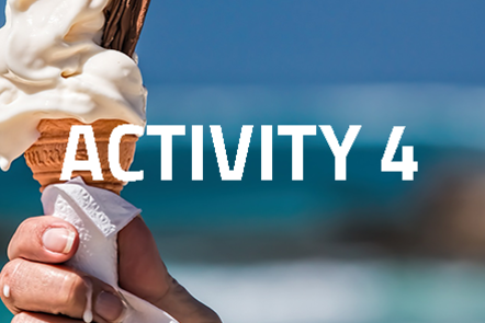 Hand holding a melting ice cream with 'Activity 4' written over the top of the image