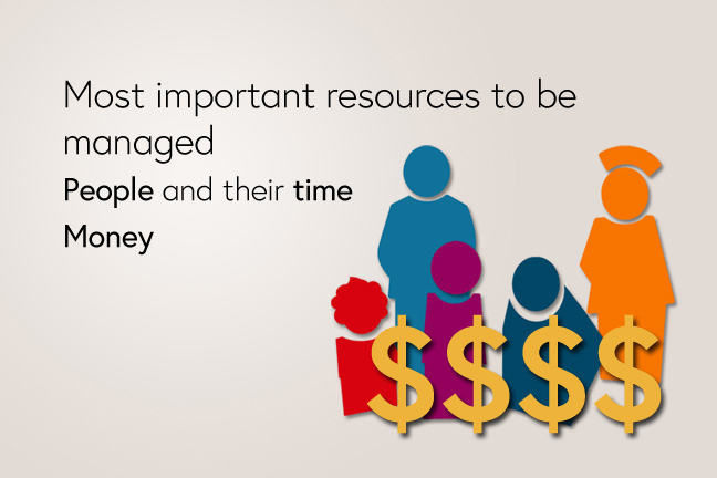 The most important resources to be managed are people, including their time, and money