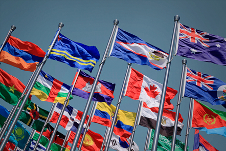 The flags of nations outside the United Nations Building