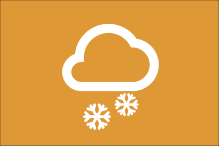 Weather icon of a cloud with 2 snowflakes