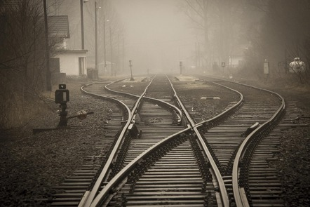 Train tracks in the fog