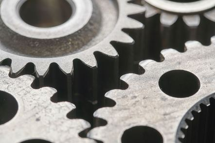 A close-up of mechanical gears
